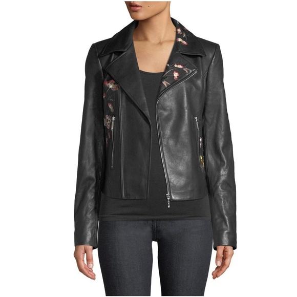 Elie Tahari Jackets & Blazers - Elie Tahari Black Mae Lamb Leather Moto Jacket